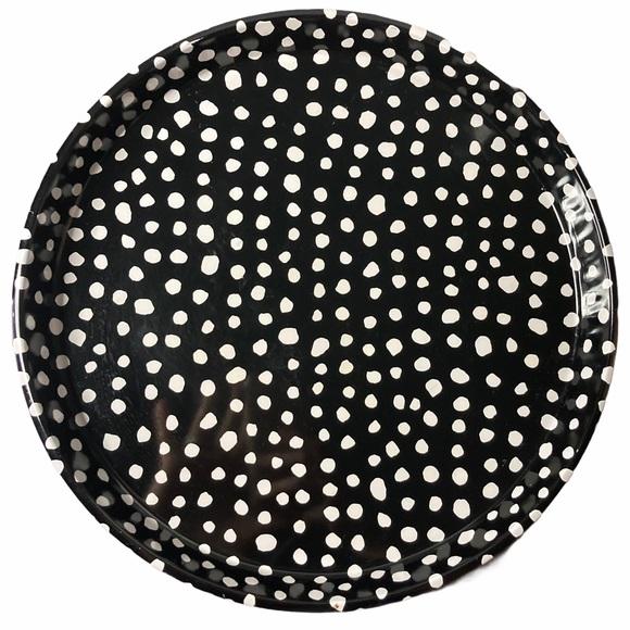 VTG Decorative Metal Tray Round Yellow Black Dots
